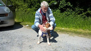 Myself and Roger Spent the whole day driving this lovely dog called Pirate from one end of Ireland to the other. Hopefully his life will be saved now and that he will get a loving lasting home at some stage in the future.